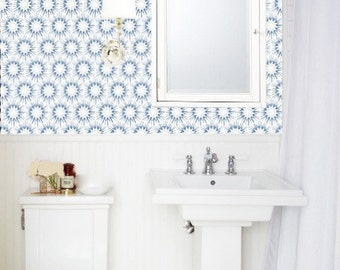 Removable Wallpaper MADE IN USA Peel U0026 Stick Self Adhesive Temporary Blue  And White Painted Designer