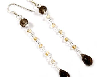 Handmade Solid 925 Sterling Silver Earring Jewelry,Natural Smoky Quartz,Citrine Gemstone,Drop Beads, Drop Dangle Earrnig, EF-96