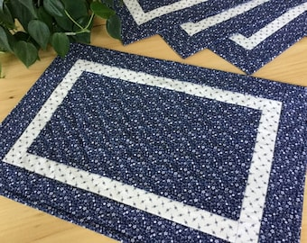 Blue Quilted Placemats Set of 4 Handmade Navy Blue Floral Calico Table Mats Free Shipping
