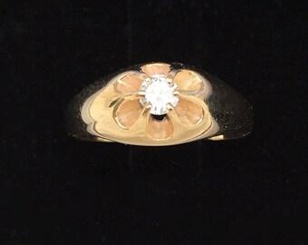 Belcher Style 6-Prong Mens Ring   14 kt Yellow Gold    Vintage Very Nice !   Fourteen Karat Gold   Bold Design