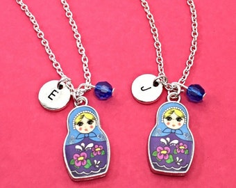 SET OF 2 Best friend necklace - set of 2, Russian doll necklace, Russian doll charm, personalized, custom,Matryoshka doll necklace, bff gift