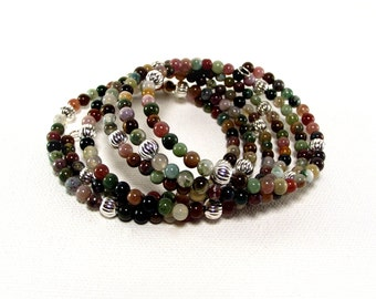 Memeory Wire - Urban Chic Colorful Gemstone and Silver Wrap Bracelet