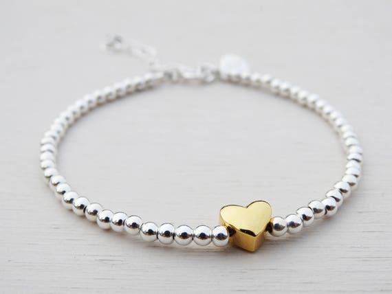 Silver Bead & Gold Heart Bracelet, Sterling Silver