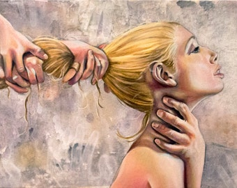 Surrender Anxiety Dark Art Painting Print Reproduction Hands Hair Pulling Sexy Blonde Woman Choking Grayscale Fingers Sexual Abuse Healing