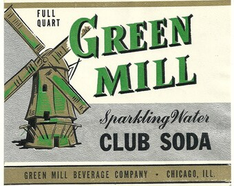 Unused 1940's Green Mill Sparkling Water Club Soda Bottle Label From Green Mill Beverage Co. Chicago, Illinois