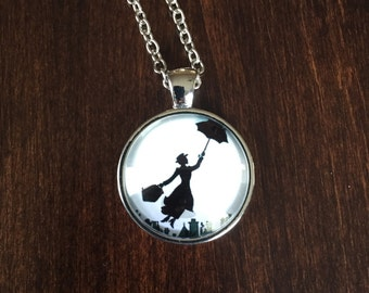 Mary Poppins, Mary Poppins necklace, Mary Poppins pendant, Mary Poppins jewelry, jewellery, jewlery, silver jewlery, silver necklace