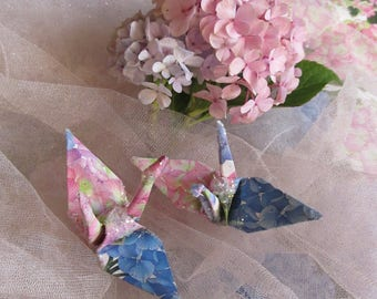 Hydrangea Wedding Cake Topper Peace Crane Bird,  Party Favor Origami Christmas Ornament Japan Place Card Holder Table Decoration Pink Blue