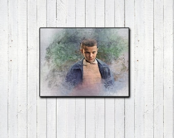 STRANGER THINGS, Eleven Watercolor Print, 11x14in, Millie Bobby Brown, Sci Fi Movies, 80s Nostalgia, Netflix, Tv Shows, Eleven Pink Dress