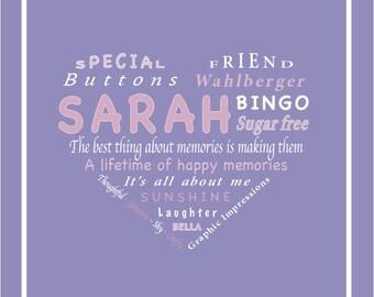 Personalised Heart Word Print