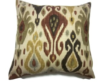 Decorative Pillow Cover Ikat Design Burnt Orange Dark Brown Olive Green Yellow Gold  Same Fabric Front/Back Toss Throw Accent 18x18 inch x