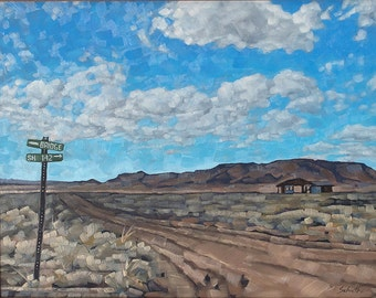 "Original Oil Painting, Framed Southwestern Desert Dirt Road Landscape Painting, Road Signs, Mesa Scene - ""Crossroads in the Big Valley"""