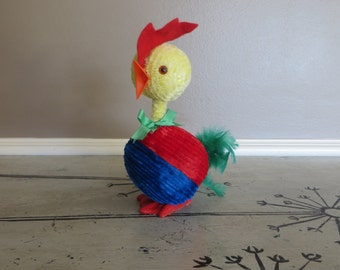 Bobblehead Easter Chick Candy Container Paper Mache Chick Cardboard Candy Holder