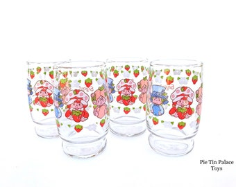 Strawberry Shortcake Juice Glasses | Vintage 1980s Small Drinking Glasses with Blueberry Muffin, Strawberry Shortcake, Apricot Glassware Set