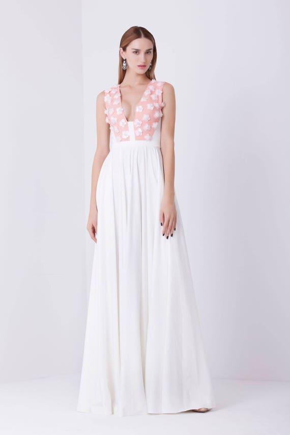 Weiße Perlen V-Ausschnitt Kleid Brautjungfer Kleid lang