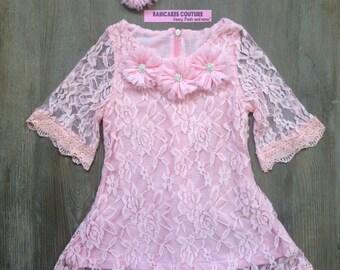 Pink Easter Dress, 1st Birthday Dress,Baby Girl Pink Lace Dress, Egg Hunt Dress, Pink Lace 1st Birthday Dress, Fancy Dress, Tea Party Dress