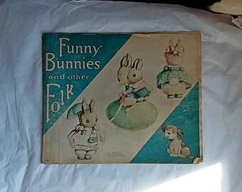 Vintage Child's Book Funny Bunnies & Other Folk, McLoughlin Bros. Linette