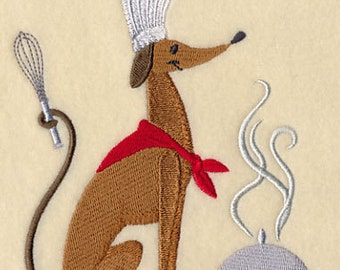 Chef Dog Dinner is Served Embroidered Flour Sack Hand/Dish Towel