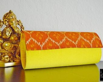 Women's clutch purse,clutch purse,women's clutch purse,unique clutch purse,ikat clutch purse,yellow orange clutch purse,women's purse,purse