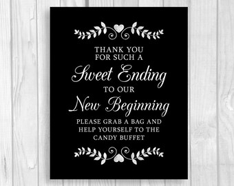Sweet Ending to a New Beginning Printable 5x7, 8x10 Wedding or Bridal Shower Candy Buffet Sign - Black and White with Hearts, Laurels