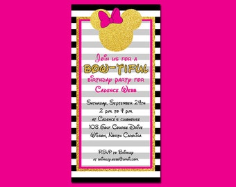 Stripes and Sparkles Mouse Birthday Invitation