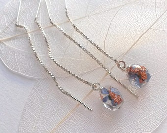 Original silver earrings with real Forget-me-not flowers