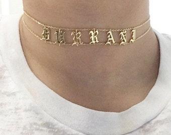 Choker Necklace - Personalized Choker Necklace - Custom Name Choker - Name Plate Choker - Custom Jewelry