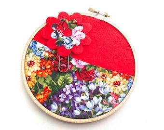 Red Floral Gift Card Holder Organizer  Large Flower Paper Clip Bookmark, Gift Card Pocket Holder, Valentine's Day