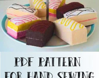 Felt food cake slices - Hand sewing pattern - fully illustrated, 4 different styles pdf