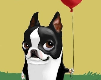 Boston Terrier with a Red Balloon, Boston Terrier gift,Boston Terrier art
