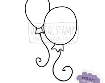 Digital Stamp - Balloons