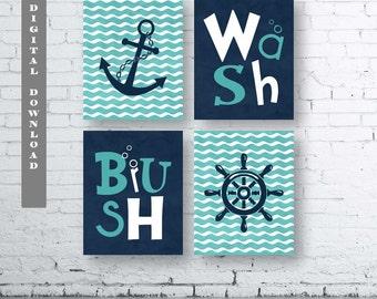 Nautical Bathroom Wall Art Prints-Set of Four (4)-Instant Download.Boy Nautical Bath Art.Nautical Bath Decor. Turquoise Navy Bathroom.