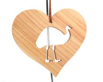 Emu Ornament, Wood Heart Shaped Farm Animal Decoration, Christmas Emu Decoration, Maple
