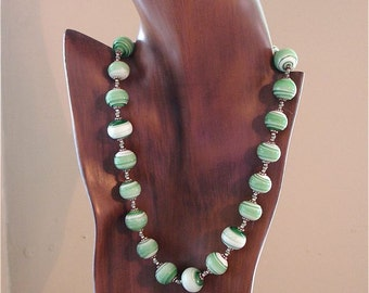 Lampwork Hand Knotted Necklace Green Recycled Glass
