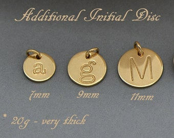 Additional Initial Charm / Additional Initial Disc / Add a sterling Silver, 14k Gold Filled or Rose Gold Filled Initial Disc / Hand Stamped
