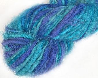 Approximately 40 yards, Green Fuzzy Sari Silk Ribbon, from