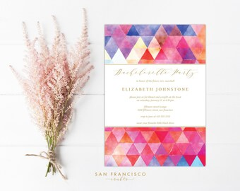 Bachelorette Party Invitation Instant Download | Editable Bachelorette Party Invite  | watercolor, printable, geometric - Editable PDF File