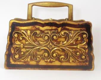 Unique Vintage 60's wooden Box Purse