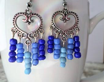 Silver Heart Earrings, Heart Earrings, Heart Jewelry, Nickel Free Earrings, Seed Bead Earrings, Blue Earrings, Heart Charm Earrings