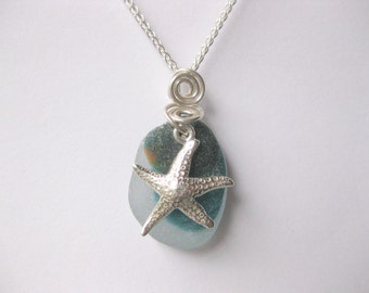 SS Starfish necklace   Sea glass jewelry Starfish  jewelry multi sea glass