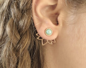 Gold Lotus Ear Jacket Earring, Minimalist Ear Cuffs, Turquoise Jacket Earring, Gold Stud Earring, Yoga Lotus Earrings, Women Trendy Jewelry