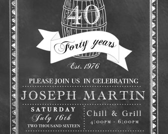 Aged to Perfection - 40th Birthday Digital Download - Personalized Invitation