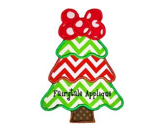 Digital Machine Embroidery Design - Sassy Christmas Tree Applique