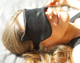 Eye Mask - Boudoir Sleep Mask - Cat Mask - Black Hemp Silk Charmeuse - Eco Friendly - Mother's Day