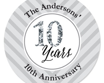 We Still Do - 10th Anniversary Personalized Circle Stickers - Wedding or Anniversary DIY Craft Supplies  - 24 Count