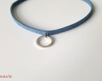 Choker collar necklace denim ring Silver Blue