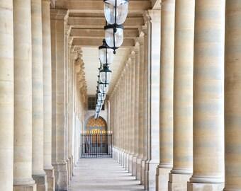 Paris photography, Paris in color, colonnade, Paris architecture, covered passage, French wall art, Paris decor, home decor, fine art print