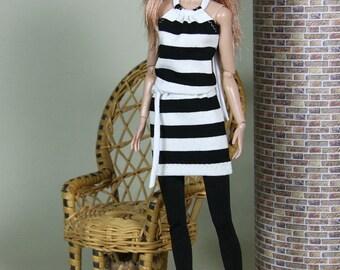 "Fashion Doll Kleid ""to the beach"" - schwarz"
