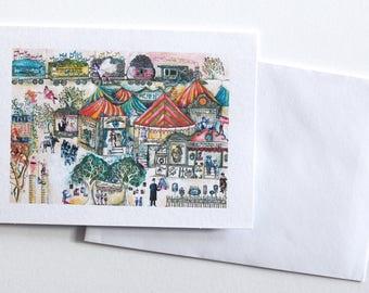 Handmade circus greeting card. Blank card. Hand drawn card
