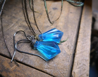 Rocky Mountain Sky Earrings. Sky Blue Faceted Lucite Drops, antiqued brass & gunmetal dangle earrings