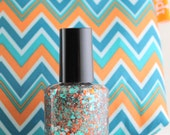 Kick Off  Orange Teal White Glitter Nail Polish Team Spirit Miami Dolphins colors 5 free nail polish handmade vegan nail polish indie polish